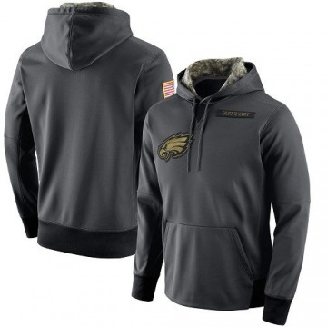 Men's Nike Philadelphia Eagles Anthracite Salute to Service Player Performance Hoodie -