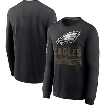 Men's Nike Philadelphia Eagles Black 2020 Salute to Service Sideline Performance Long Sleeve T-Shirt -