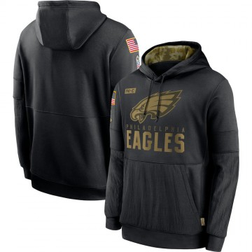 Men's Nike Philadelphia Eagles Black 2020 Salute to Service Sideline Performance Pullover Hoodie -