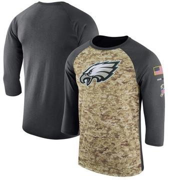Men's Nike Philadelphia Eagles Camo /Anthracite Salute to Service 2017 Sideline Performance Three-Quarter Sleeve T-Shirt - Legen