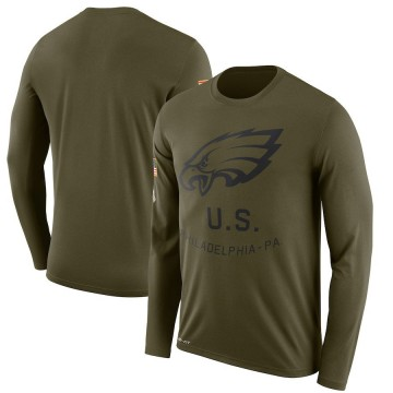 Men's Nike Philadelphia Eagles Olive 2018 Salute to Service Sideline Performance Long Sleeve T-Shirt - Legend