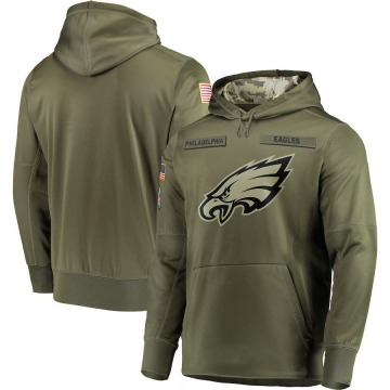 Men's Nike Philadelphia Eagles Olive 2018 Salute to Service Sideline Therma Performance Pullover Hoodie -