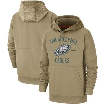 Men's Nike Philadelphia Eagles Tan 2019 Salute to Service Sideline Therma Pullover Hoodie -