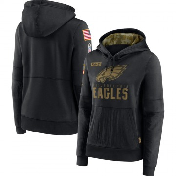 Women's Nike Philadelphia Eagles Black 2020 Salute to Service Performance Pullover Hoodie -