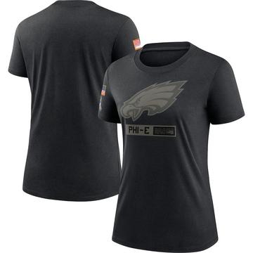 Women's Nike Philadelphia Eagles Black 2020 Salute To Service Performance T-Shirt -