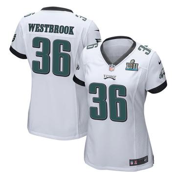 Women's Nike Philadelphia Eagles Brian Westbrook White Super Bowl LII Jersey - Game
