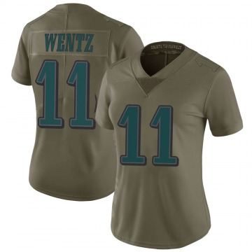 Women's Nike Philadelphia Eagles Carson Wentz Green 2017 Salute to Service Jersey - Limited