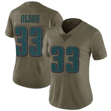 Women's Nike Philadelphia Eagles Dante Olson Green 2017 Salute to Service Jersey - Limited