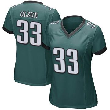 Women's Nike Philadelphia Eagles Dante Olson Green Team Color Jersey - Game