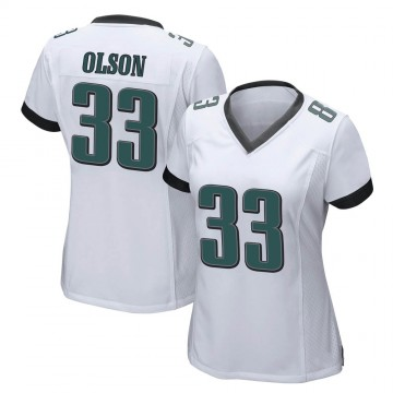 Women's Nike Philadelphia Eagles Dante Olson White Jersey - Game