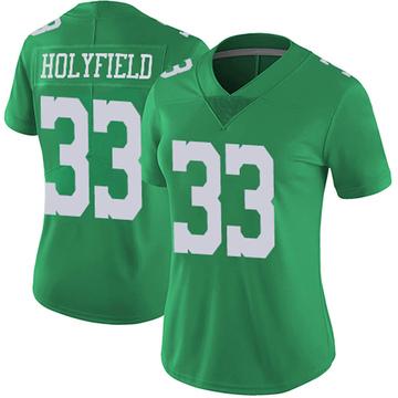 Women's Nike Philadelphia Eagles Elijah Holyfield Green Vapor Untouchable Jersey - Limited