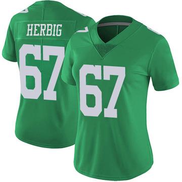 Women's Nike Philadelphia Eagles Nate Herbig Green Vapor Untouchable Jersey - Limited