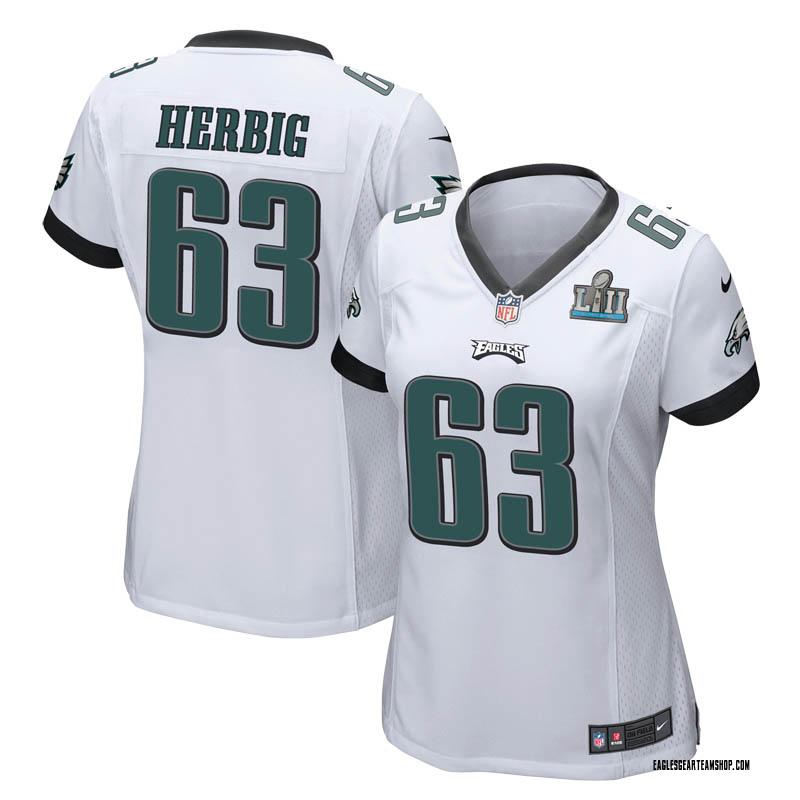 hot sale online 67191 fd4e2 Women's Nike Philadelphia Eagles Nate Herbig White Super Bowl LII Jersey -  Game