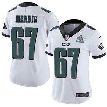 Women's Nike Philadelphia Eagles Nate Herbig White Super Bowl LII Vapor Untouchable Jersey - Limited