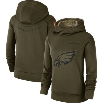 Women's Nike Philadelphia Eagles Olive 2018 Salute to Service Team Logo Performance Pullover Hoodie -