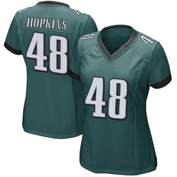 Women's Nike Philadelphia Eagles Wes Hopkins Green Team Color Jersey - Game