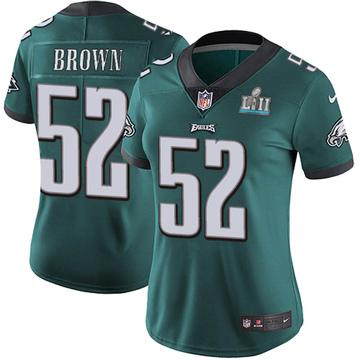 Women's Nike Philadelphia Eagles Zach Brown Green Midnight Team Color Super Bowl LII Vapor Untouchable Jersey - Limited