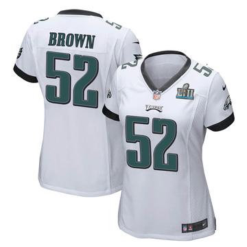 Women's Nike Philadelphia Eagles Zach Brown White Super Bowl LII Jersey - Game