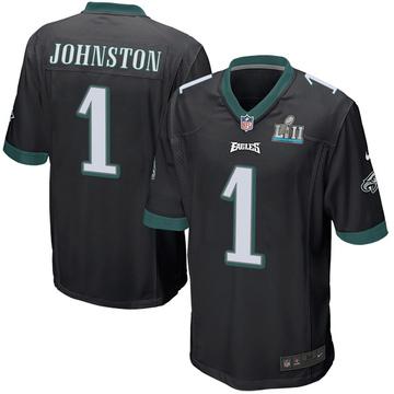 Youth Nike Philadelphia Eagles Cameron Johnston Black Alternate Super Bowl LII Jersey - Game