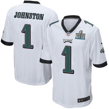 Youth Nike Philadelphia Eagles Cameron Johnston White Super Bowl LII Jersey - Game