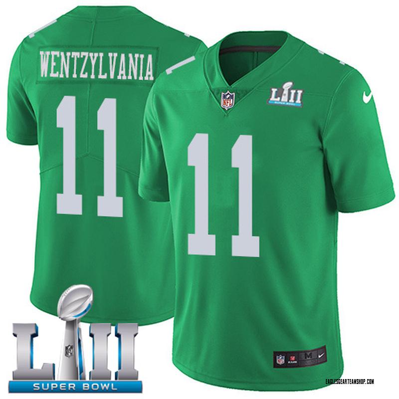 cheap for discount 09d6e 05d6b Youth Nike Philadelphia Eagles Carson Wentz Green Color Rush Vapor  Untouchable Wentzylvania Super Bowl LII Jersey - Limited