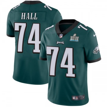 Youth Nike Philadelphia Eagles Daeshon Hall Green Midnight Team Color Super Bowl LII Vapor Untouchable Jersey - Limited