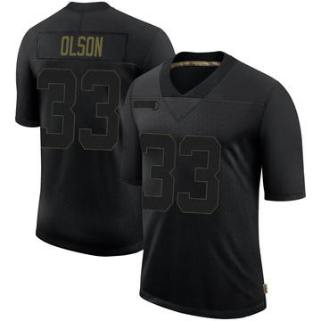 Youth Nike Philadelphia Eagles Dante Olson Black 2020 Salute To Service Jersey - Limited