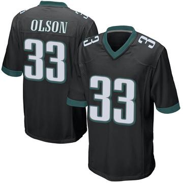 Youth Nike Philadelphia Eagles Dante Olson Black Alternate Jersey - Game