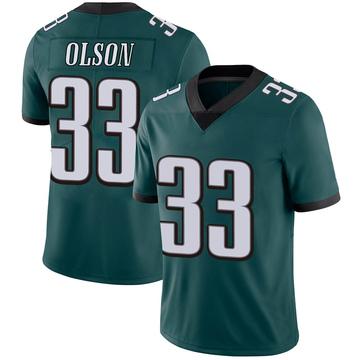 Youth Nike Philadelphia Eagles Dante Olson Green Midnight 100th Vapor Jersey - Limited