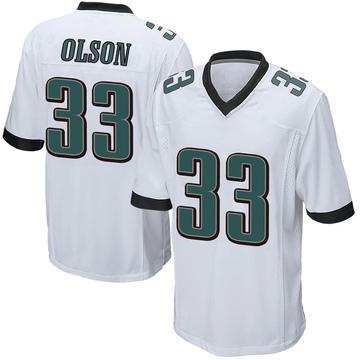 Youth Nike Philadelphia Eagles Dante Olson White Jersey - Game