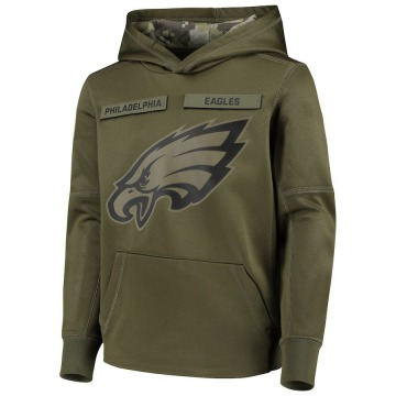 Youth Nike Philadelphia Eagles Green 2018 Salute to Service Pullover Performance Hoodie -