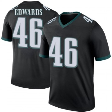 Youth Nike Philadelphia Eagles Herman Edwards Black Color Rush Jersey - Legend