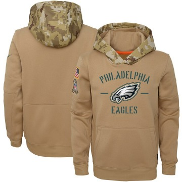Youth Nike Philadelphia Eagles Khaki 2019 Salute to Service Therma Pullover Hoodie -