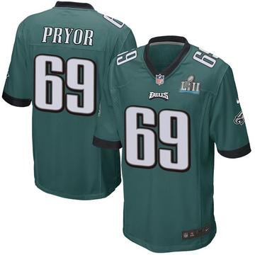 Youth Nike Philadelphia Eagles Matt Pryor Green Team Color Super Bowl LII Jersey - Game