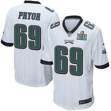 Youth Nike Philadelphia Eagles Matt Pryor White Super Bowl LII Jersey - Game