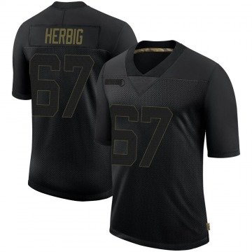 Youth Nike Philadelphia Eagles Nate Herbig Black 2020 Salute To Service Jersey - Limited